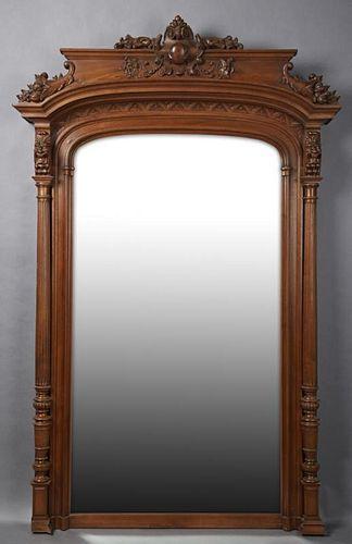 French Louis XVI Style Carved Walnut Overmantel Mi