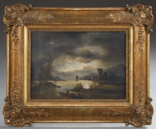 "French School, ""Moonlit Lake Scene,"" 19th c., oil"