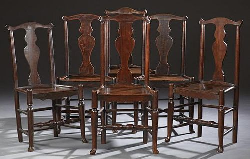 Set of Six English Carved Oak Country Queen Anne D