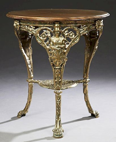 Unusual English Brass Plated Iron Table, 20th c.,