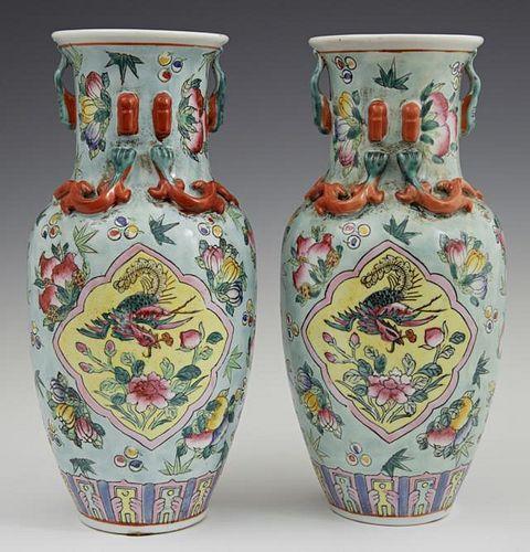 Pair of Chinese Famille Rose Baluster Porcelain Va