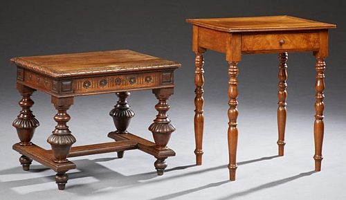 Two French Lamp Tables, 19th c., one a carved waln