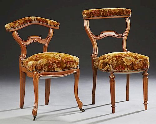 Two Unusual French Carved Cherry Prayer Chairs, 19