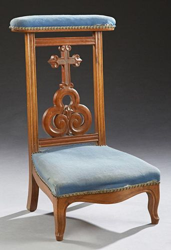 French Carved Beech Louis XV Style Prie Dieu, 19th