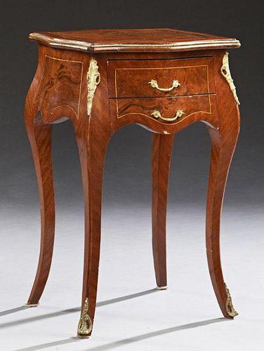 Louis XV Style Carved Inlaid Walnut Ormolu Mounted