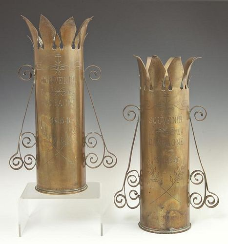 Pair of WWI French Trench Art Brass Vases, c. 1917