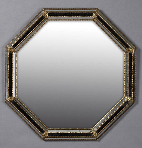 French Brass Mounted Octagonal Cushion Mirror, 20t