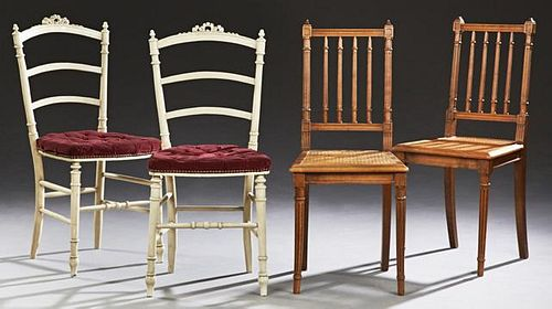 Group of Four French Louis XVI Style Side Chairs,