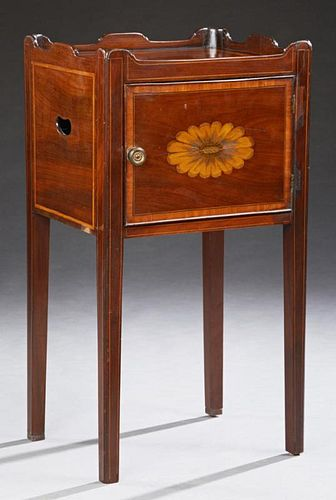 English Edwardian Inlaid Mahogany Nightstand, c. 1