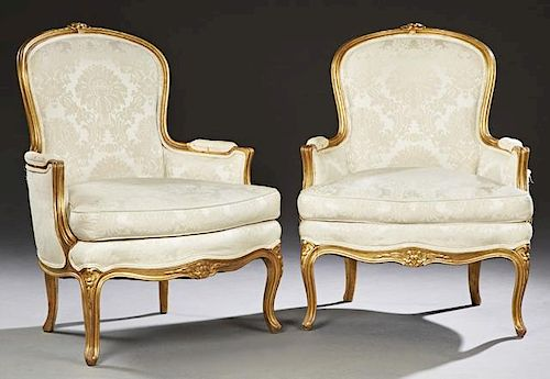 Pair of French Louis XV Style Carved Giltwood Berg