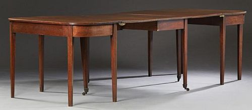 Georgian Style Carved Mahogany D-End Dining Table,