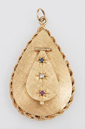 Unusual 14K Yellow Gold Locket Pendant, c. 1960, o