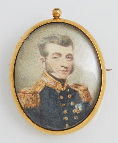 English 15K Yellow Gold Portrait Brooch, 19th c.,