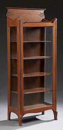 American Victorian Carved Oak Curio Cabinet, c. 19