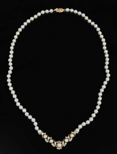 14K Yellow Gold Cultured Pearl Necklace, 20th c.,