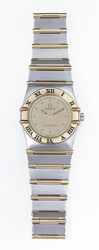 Lady's 18K Yellow Gold and Stainless Steel Omega C