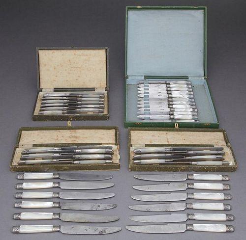 Four Cased Sets of French Knives, 19th c., with mo