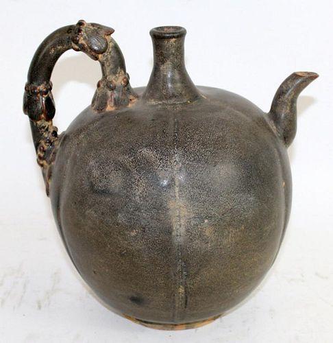 Chinese glazed terra cotta gourd pitcher