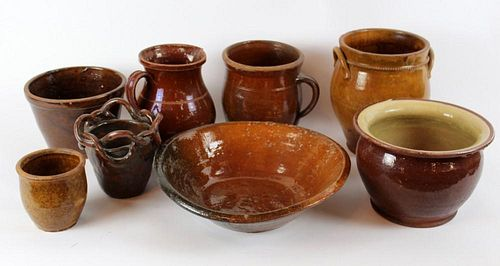 Grouping of American Redware glazed pottery