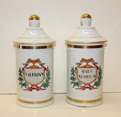 Lot of 2 French porcelain apothecary jars