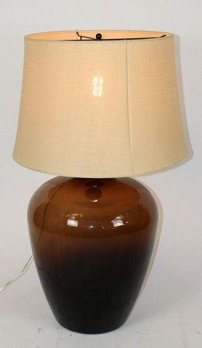 Amber glass demi-john wine bottle as lamp