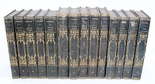 Lot of 14 French green leather bound books