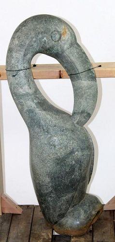 West African green marble Toucan sculpture