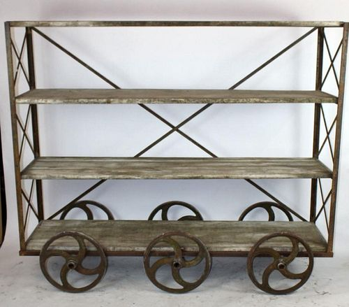 French Industrial rolling cart with shelves