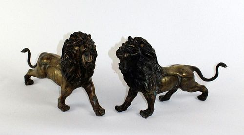 Pair of brass standing lions