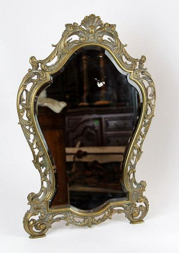 French Louis XV silverplate vanity mirror