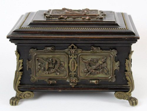 French Napoleon III dresser box with relief bronze