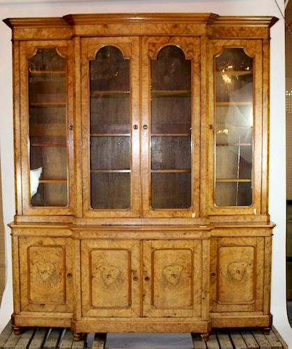 French Louis Philippe 4 door breakfront bookcase