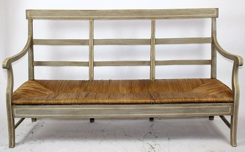 French Louis Philippe farmhouse bench with rush