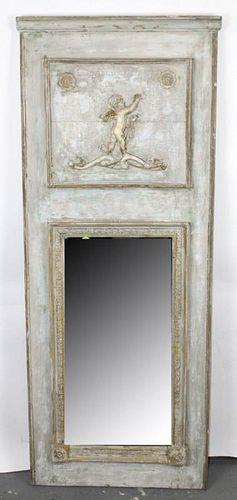 French Empire trumeau mirror with cherub