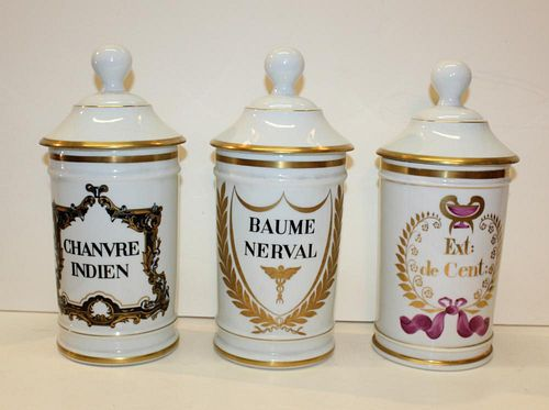 Grouping of 3 French porcelain apothecary jars