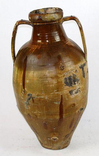Glazed terra cotta olive jar