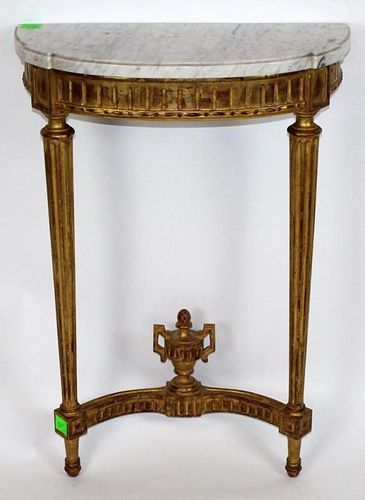 French Louis XVI style wall mount gold leaf console