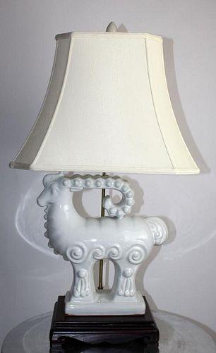 White ceramic stylized ram table lamp