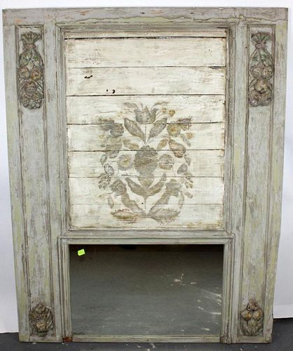 French painted trumeau mirror with carved fruit garland