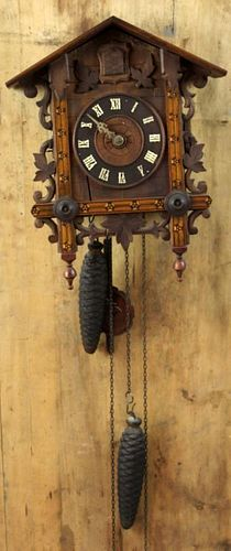 German Cuckoo clock with marquetry