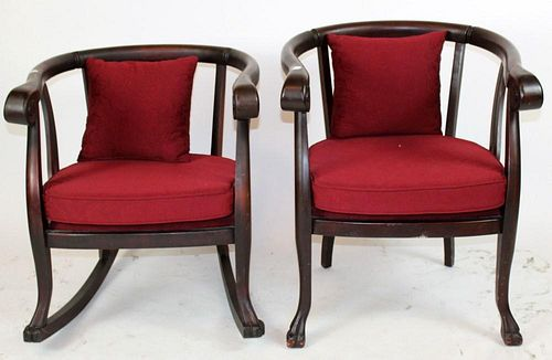 Pair of American Empire armchairs in mahogany