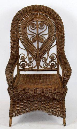 Heywood Wakefield style wicker armchair