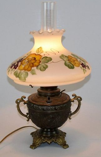 Vintage converted oil lamp with floral shade