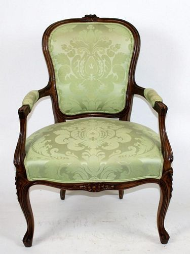 Louis XV armchair with green damask upholstery