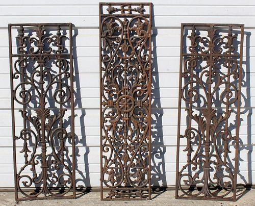 Lot of 3 cast iron panels