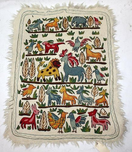 Kashmir wool wall tapestry with animals