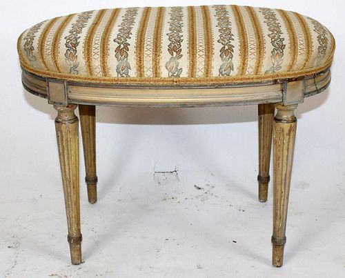 Louis XVI style tapered fluted leg footstool