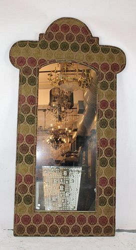 Large scale upholstered frame mirror