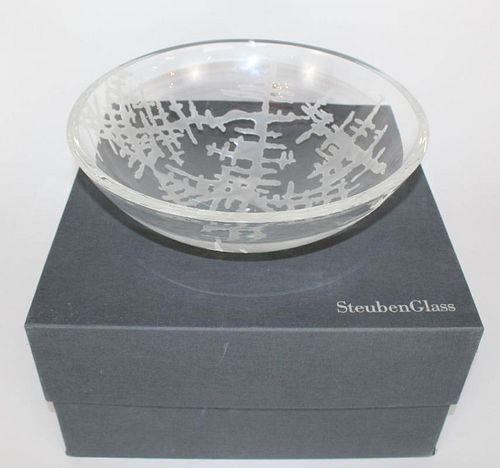 Steuben large etched crystal bowl