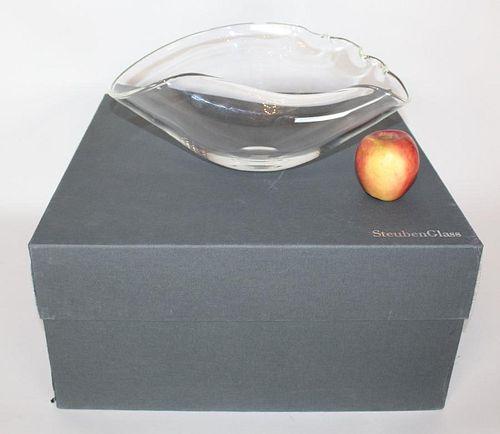 Steuben large crystal shell form vase